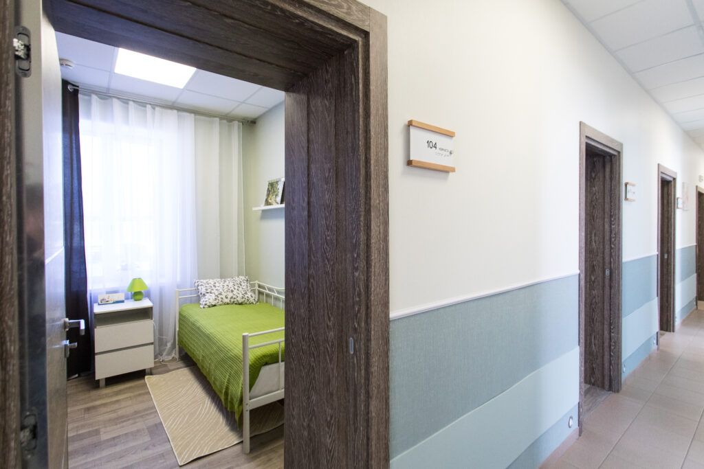 Interior room nursing home, corridor in the hospital wards, furniture for people with disabilities
