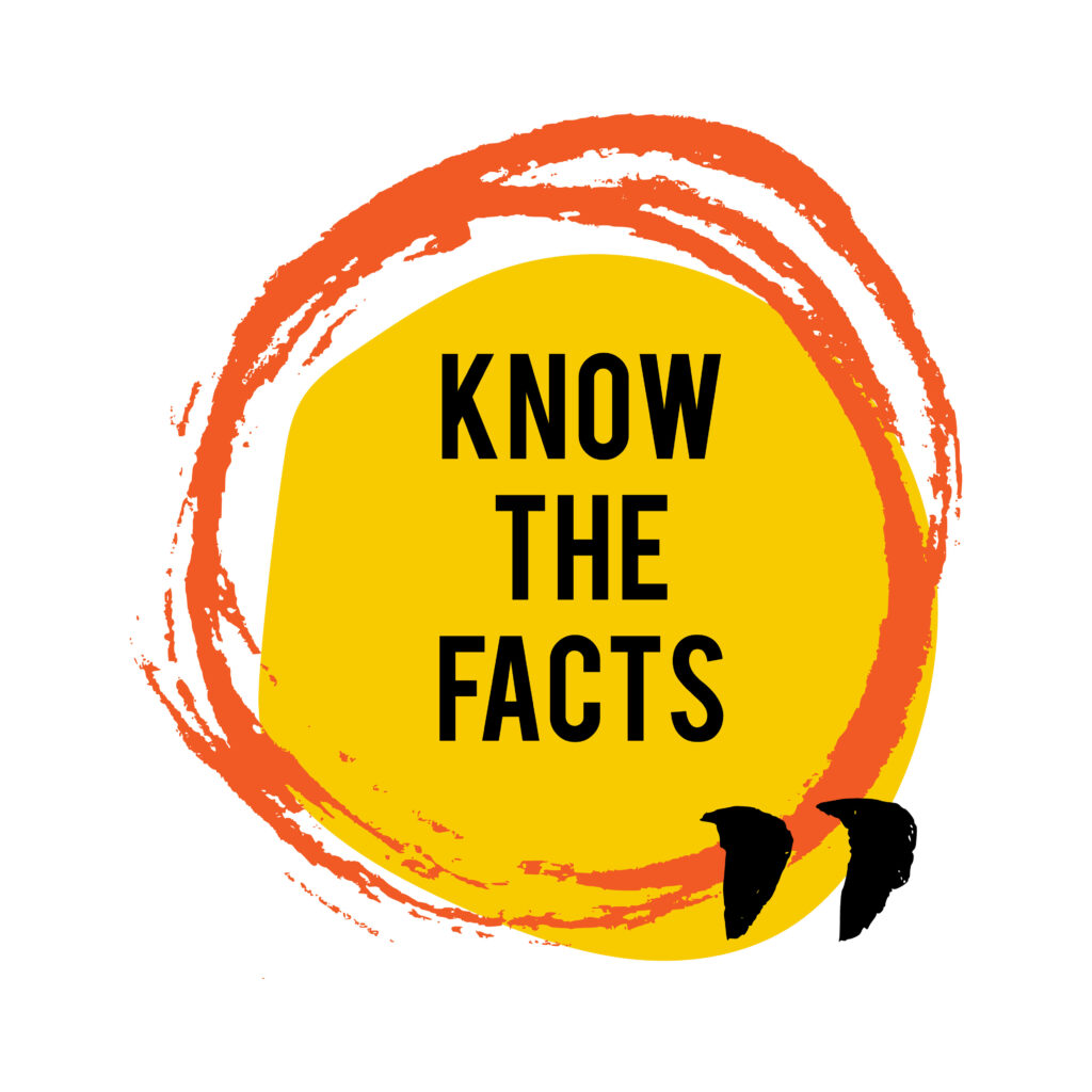 Know the facts brush stain icon. Fun fact idea label. Banner for business, marketing and advertising. Funny question sign for logo. Vector design element with hand brush strokes isolated on white.